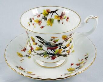 Vintage Royal Albert Demitasse Cup and Saucer Set Woodland Series 'Robin' Gilt