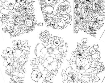 6 Coloring Pages For Adultsflowers Pageadult Pagecoloring Page