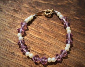 Lavendar Swarovski crystal baby bracelet