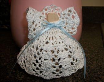 Handmade White Guardian Angel Blue Ribbon Crocheted Christmas Ornament