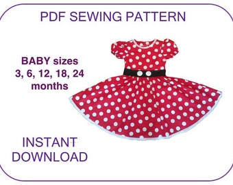 MINNIE MOUSE costume dress pattern for Baby, Toddler sizes. Computer drafted Pdf pattern. Minnie dress pattern for baby girls Minnie costume