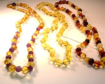Natural Baltic Amber Necklace various Colours for Women Antique Beads