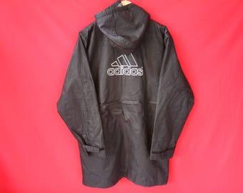vintage adidas jacket raincoat large men size