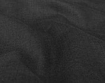 """Black Linen Fabric by the yard - made in N. Europe - Light Weight - Width 60"""" (150 cm) flax fibres"""