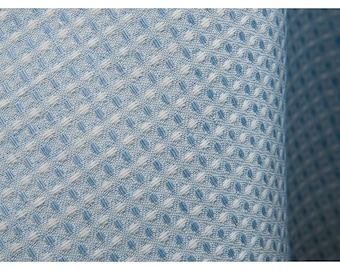 "Linen-Cotton Blend Fabric by the yard - made in Europe - Medium Weight - Width 70"" (180 cm) - Blueish and White"