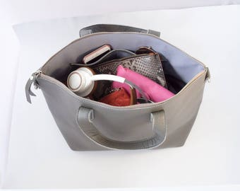 Leather Cross-body Tote bag in Grey