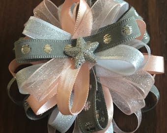 Salmon and Silver Headband/Bow