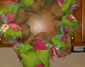 Pink and green burlap wreath