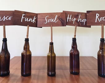 Wooden table name signs