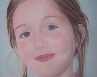 child portrait, custom portrait, children, acrylic painting