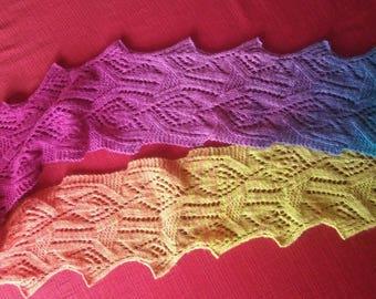 Hand Knit stole in BEAUTIFUL Merino wool.