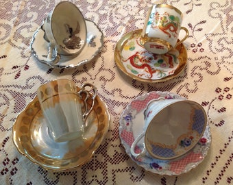 Set of 4, Vintage Demitasse Cups and Saucers