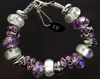 Purple and clear foil beads