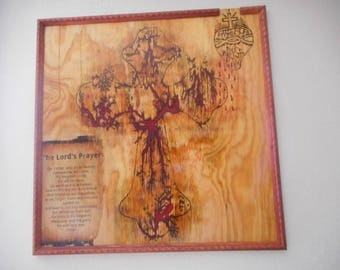 "LICHTENBERG FRACTAL Beautiful Handmade  Electrifyed wood wall art Sacred Heart of Jesus Cross and Lord""s Prayer"