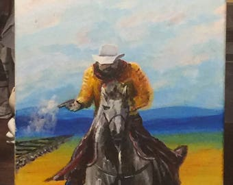 The Train Robber acrylic painting on canvas 9x12