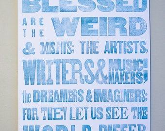 Teal Letterpress Poster