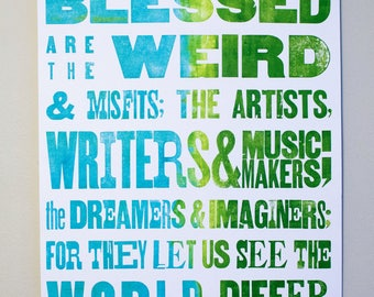 Blue to Green Fade Letterpress Poster