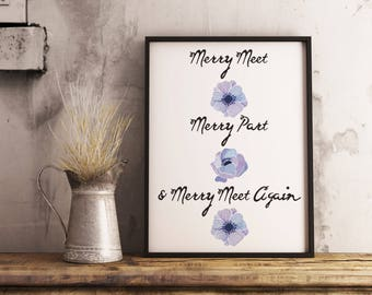 Merry Meet Poster, Merry Meet, Merry Part & Merry Meet Again, Welcome Sign