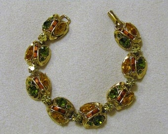Beautiful  Vintage Rhinestone Bracelet Signed 'Exquisite'