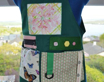 The Original Memory Apron for Memory Loss and Dementia - Garden Butterflies, Small, Green