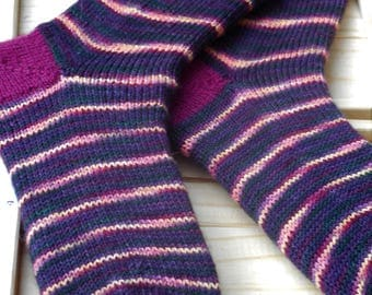 Handmade striped socks - purple with yellow stripes