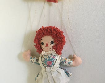 Vintage Raggedy Ann Marionette Puppet - Knickerbocker Toy Company