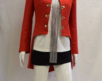 Red Tailcoat with Gold Buttons / Red Jacket / Red Coat / Ladies clothing