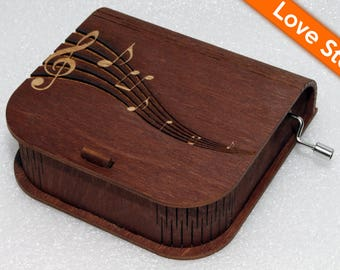"""Engraved Wooden Music Box  """"Love Story"""" #4 - Hand Crank Movement"""