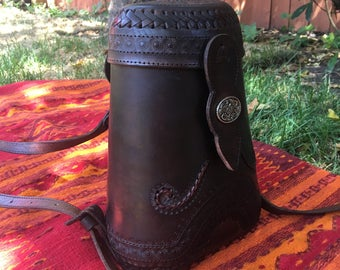 Dark brown 100% leather  bucket bag hand made