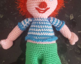 Plush knitting handmade unique piece Pumuckl