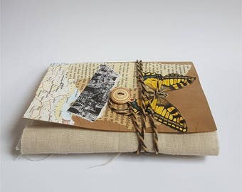Note book handmade, recycled patchwork pages for individualists,