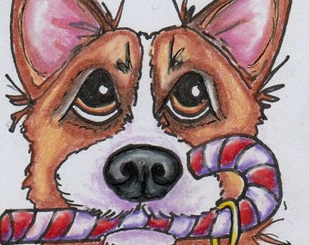 ACEO corgi art - original corgi drawing - corgi painting - original art - Christmas art - miniature art - small format art - dog animal