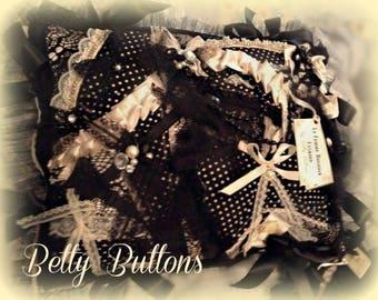 Cream and Polka Dot La Femme Burlesque Cushion