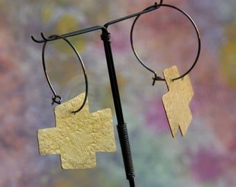 Minimalist / African Bohostyle, hoop earrings style earrings hoops Bohemian geometrically, angular geometric / cross
