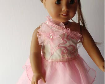 18 inch doll cloth voile & lace pink yellow, hair clip