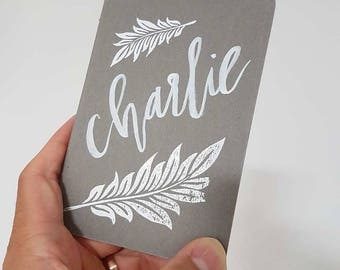 Hand-Lettered, Embossed Moleskines // Wedding Favors x Place Cards