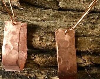 Hammered Copper Hoop Earings