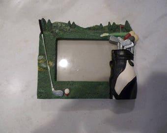 Vintage Golf Scene Picture Frame, 1990's Kitsch, hold 4x6 photo, heavy duty frame