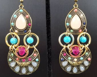 Boho Earrings Colorful Unique Playful Summer Style Gift