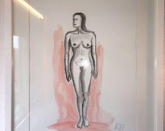 Naked woman Aquarell small painting