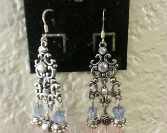 Pink and Blue Princess Chandelier Earrings