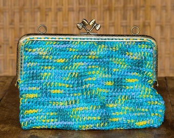 Water color crochet pouch