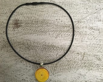Yellow Wood Resin Pendant Necklace