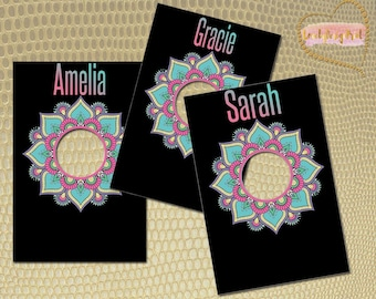 Mandala Clothing Rack Price Hanging Dividers, Clothing Name Style Divider for Clothes Racks, Hanger Tags , White Flowers
