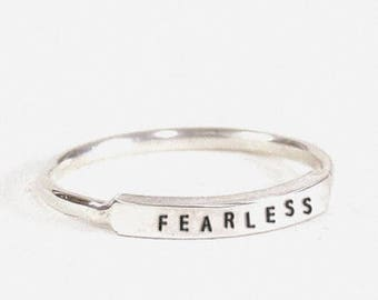 Sterling Silver Dainty Fearless Ring
