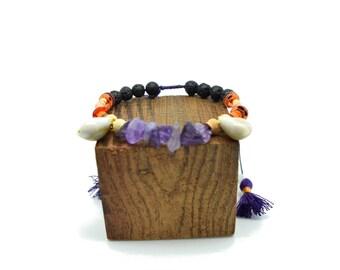 Tribal bracelet - chic ethnic bracelet - bracelet beads - Amethyst bracelet - neon orange bracelet - shell bracelet - tassels