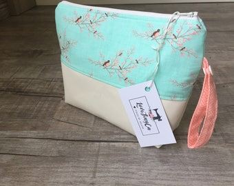 Leather Diaperpouch/ Cosmetic bag/ Toiletries bag/ Mommy clutch- Teal Peach Birds