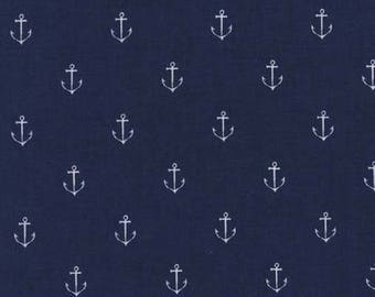 Navy Anchors Away Cotton Fabric - Michael Miller Fabrics