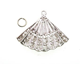 Oriental Fan traditional charm made from solid sterling silver, ideal for bracelet or worn as necklace