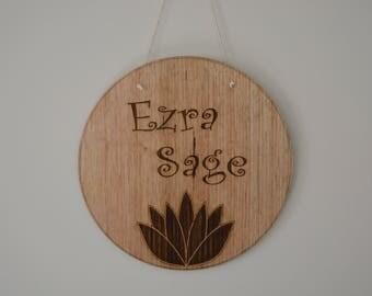 Lotus Name Plaque, Laser Engraved/Cut Timber name Plaque, Custom Name Plaque, Flatlay/Shelfie Plaque,